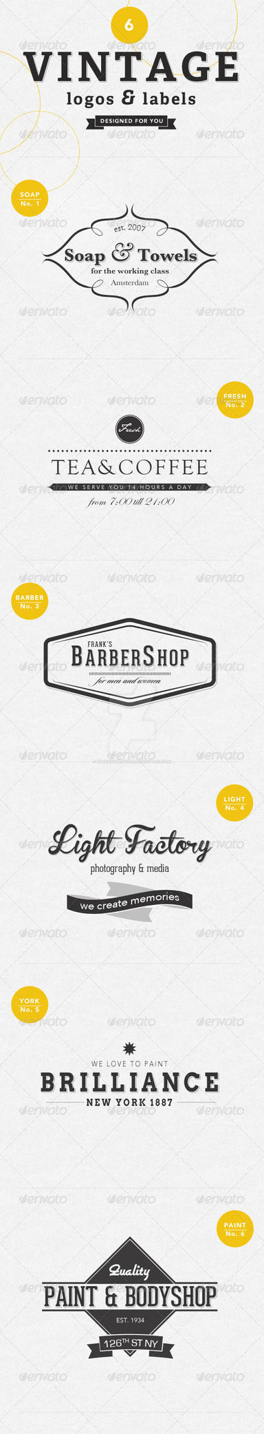 6 Vintage Labels and Logos by frankschrijvers