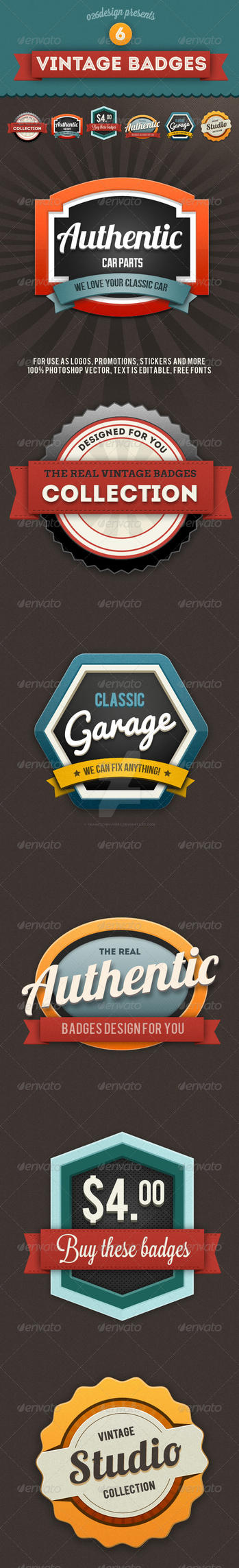 Colorful Vintage Retro Badges by frankschrijvers
