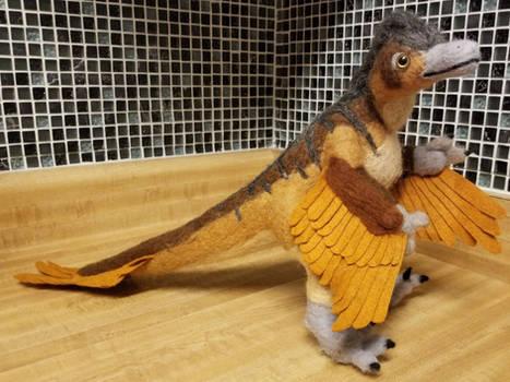 Velociraptor Needle Felted Doll