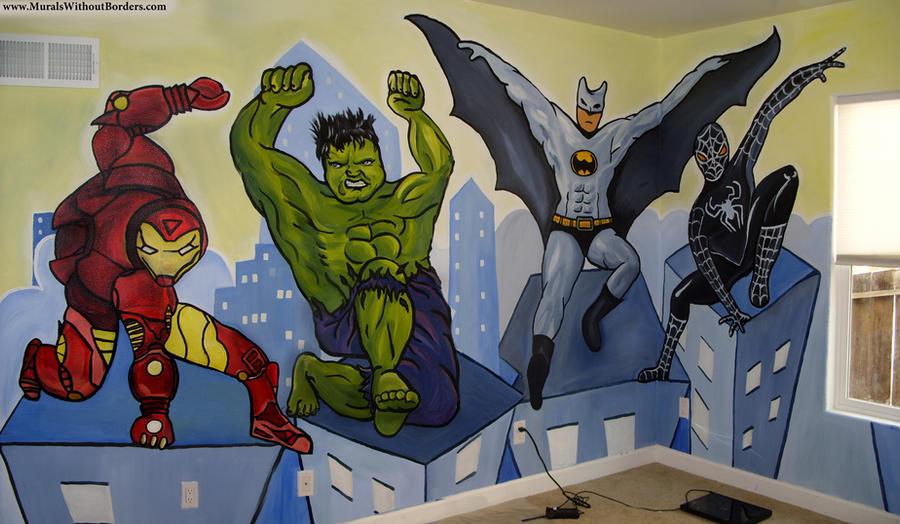 superhero children s mural by muralswithoutborders on full superhero wall mural by dark reign fanart central