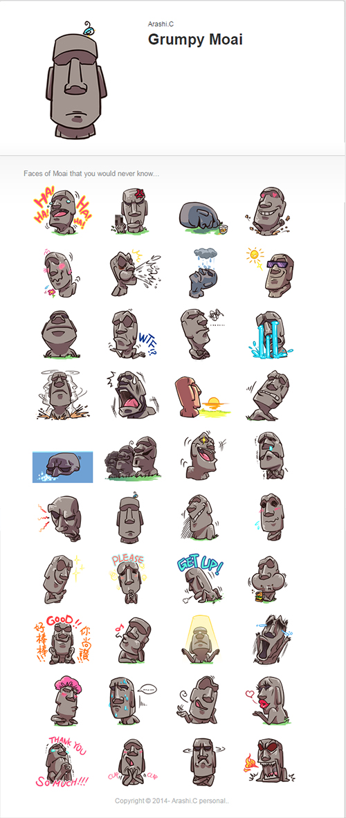 Line market- Grumpy Moai by arashicat