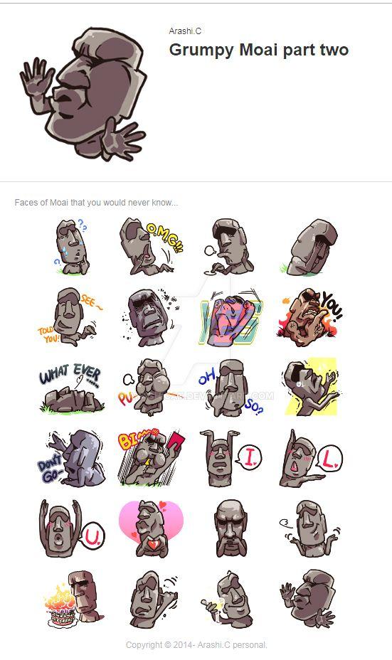 Grumpy Moai part two by arashicat