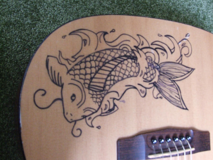Koi fish guitar with sharpie detail by seriphinanuragami for Koi fish guitar
