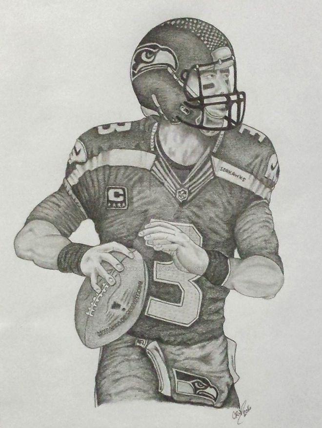russell wilson   seahawks qb pencil drawing by darkbeergal on