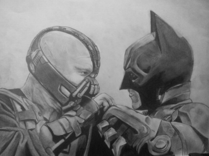 pencil drawing of batman and bane by cavanagh88 on deviantART