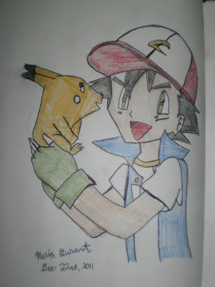 Ash and Pikachu by Maria-the-knight