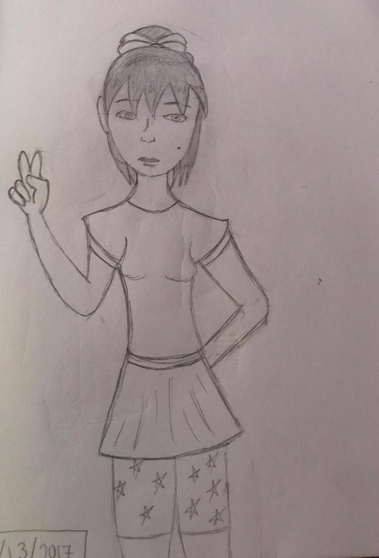 Pencil sketch I did yesterday #1 ~Random girl~ by Princ3ssWolfi3