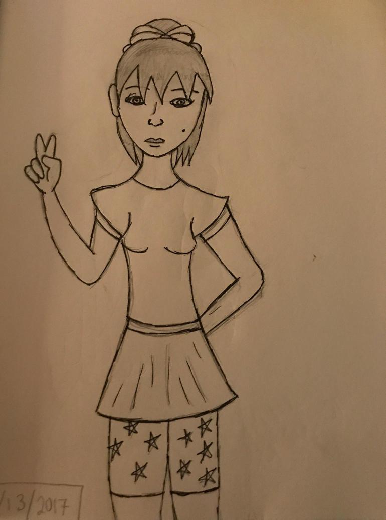 LineART of a random girl I drew by Princ3ssWolfi3