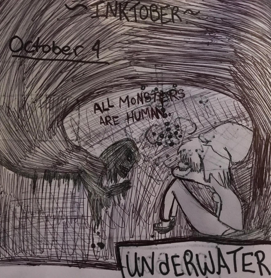 Inktober-Oct 4 ~UNDERWATER~ by Princ3ssWolfi3