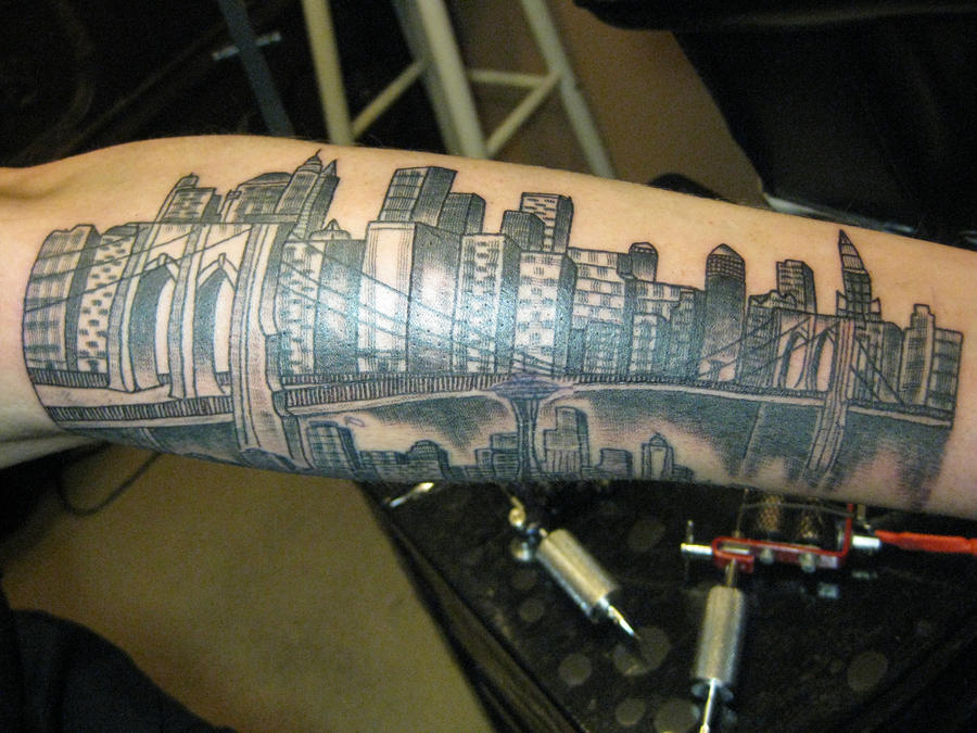Manhattan skyline by iz4nidomp4in on deviantart for Cheap tattoos nyc