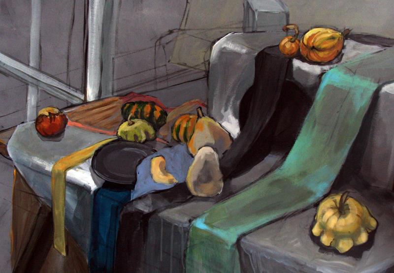 Still life with pumpkins by Bziulka