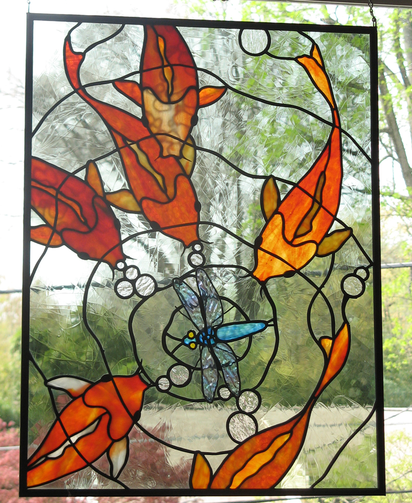 Koi stained glass panel 2 by trilobiteglassworks on deviantart for Stained glass fish patterns