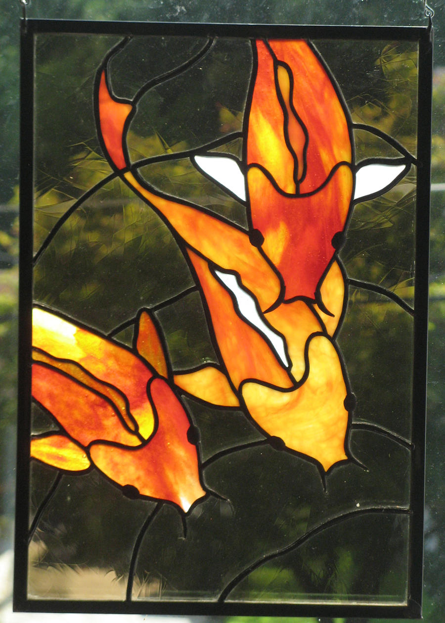 Stained glass koi trio panel by trilobiteglassworks on for Stained glass fish