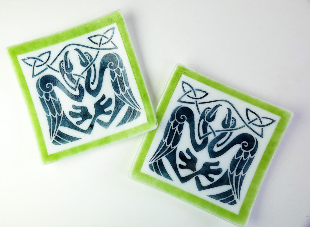 Celtic Knot Birds Fused Glass Dishes by trilobiteglassworks