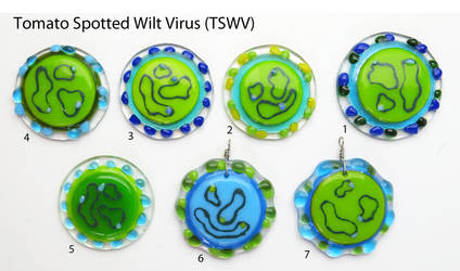 TSWV Virion  Fused Glass Pendants by trilobiteglassworks
