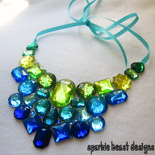 blue green rhinestone necklace by natalie526 on deviantart