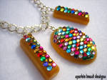 Gold Rainbow Resin Necklace