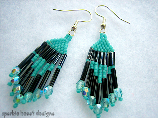 Black and Turquoise Earrings by Natalie526