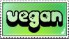 Vegan stamp. Be vegan, be happy : ) by SleepyVoodle