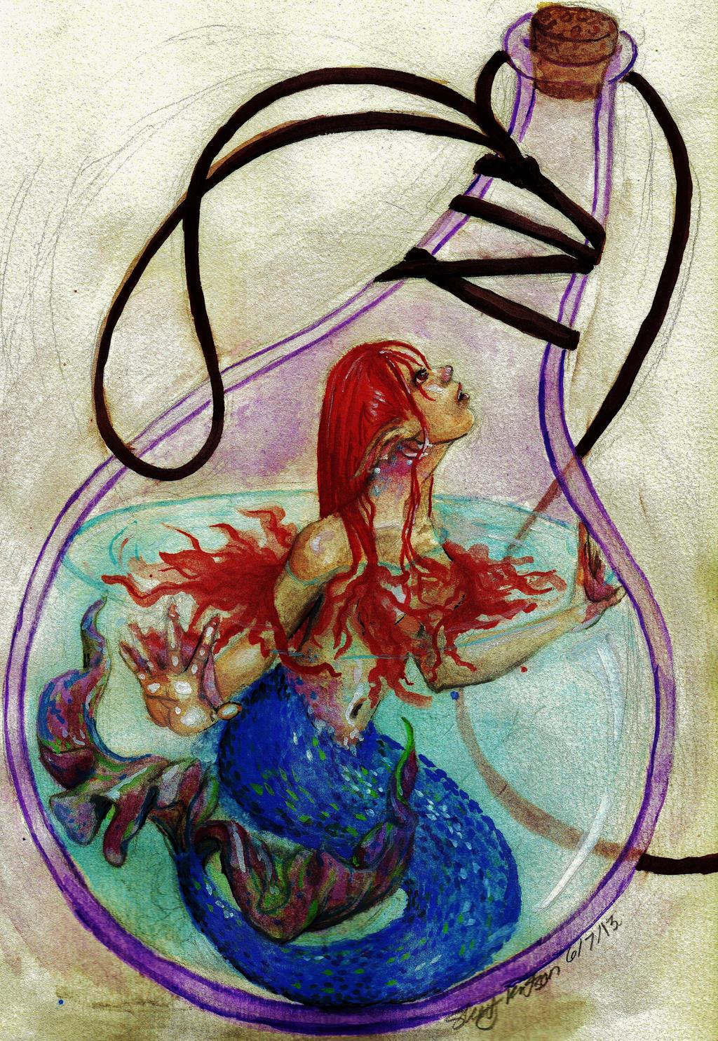 Mermaid in a bottle by Shawshay7054 on DeviantArt Webbed Hands