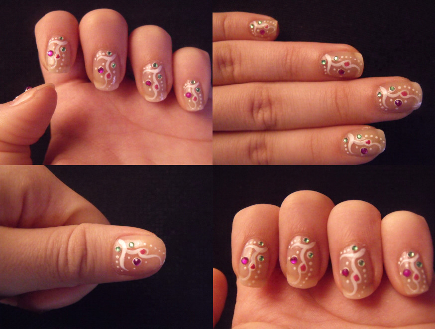 My first nail design with rhinestones by lovely-nail-art on DeviantArt