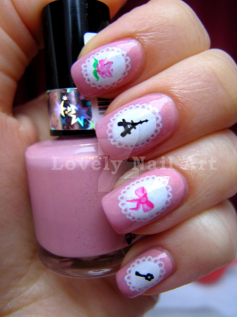Super girly nail design by lovely-nail-art on DeviantArt