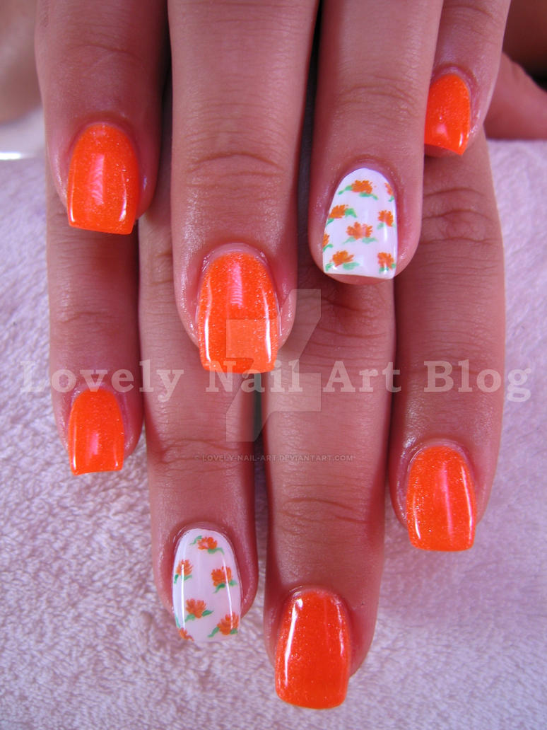 Neon Orange Nail Design By Lovely Nail Art On Deviantart