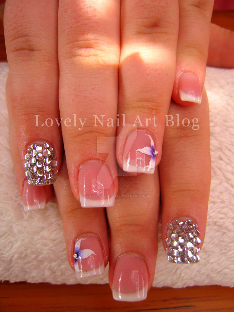French nails with flowers and strasses by lovely-nail-art on DeviantArt