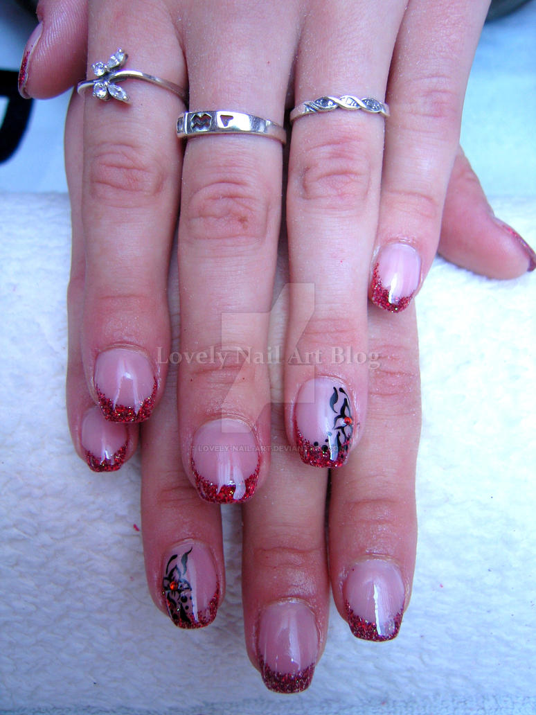Red french nails by lovely-nail-art on DeviantArt