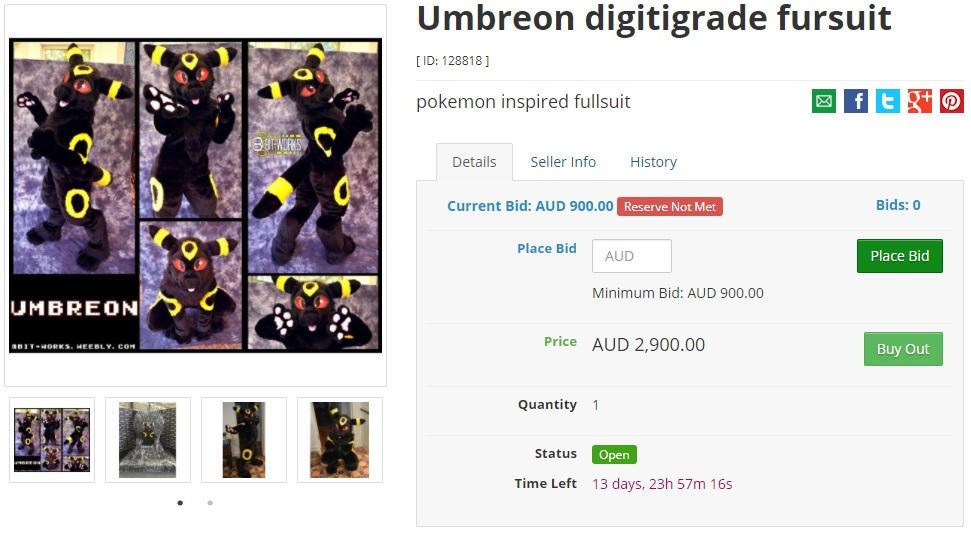 Umbreon digi fullsuit is up for auction!
