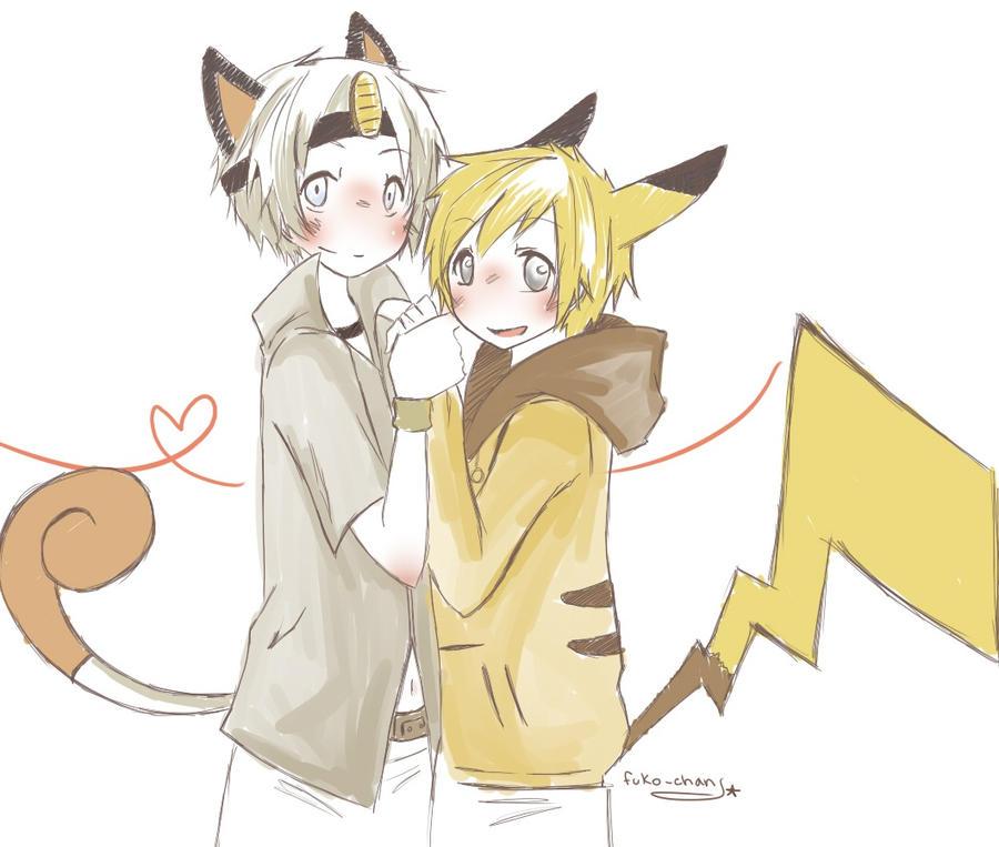 PKMN: Meowth x Pikachu by Fuko-chan on DeviantArt