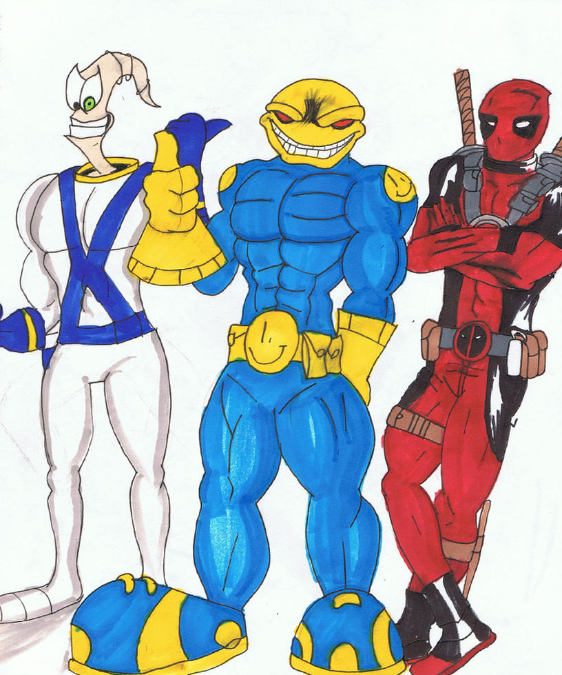 Earthworm Jim the Maniacal Smile and Deadpool by Nilihas