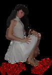 model in white skirt precut