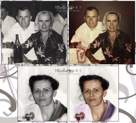 Old photos renewed, my grandparents and my mother