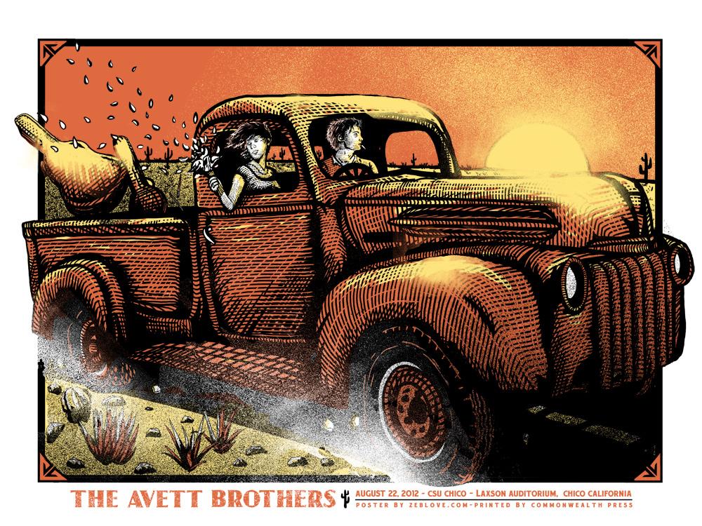The Avett Brothers - Gigposter CA by xzebulonx