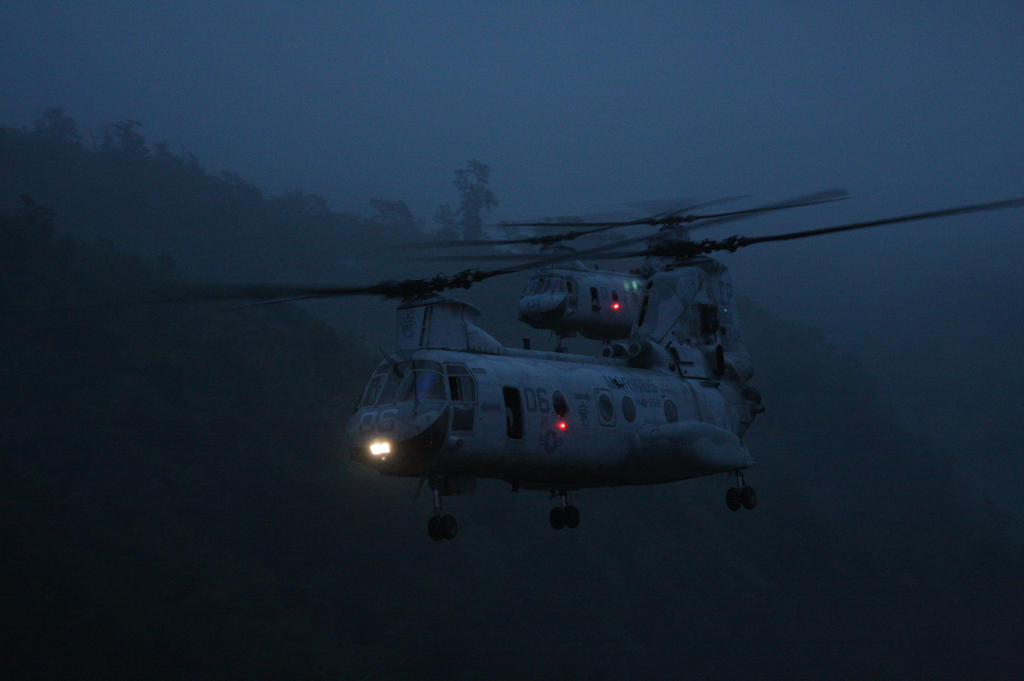 CH-46 Flight at Dusk by keeonso