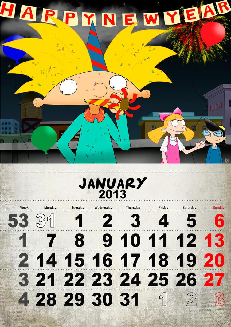 Deviantart Calendar : Hey arnold calendar january by hebofreire on