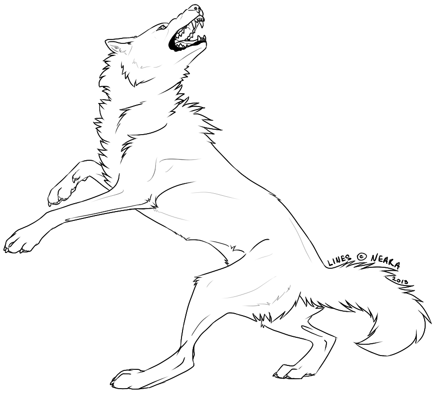 Line Drawing Wolf : Angry wolf contortion free lineart by neara works on