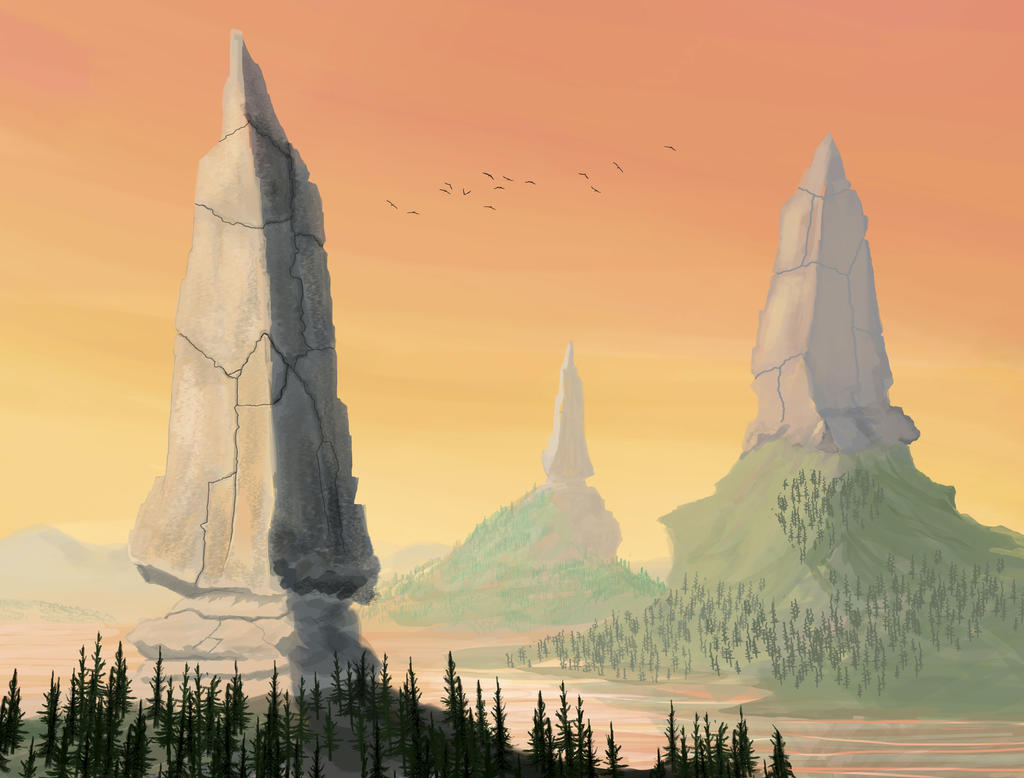 Spired Mountains by VonStreff