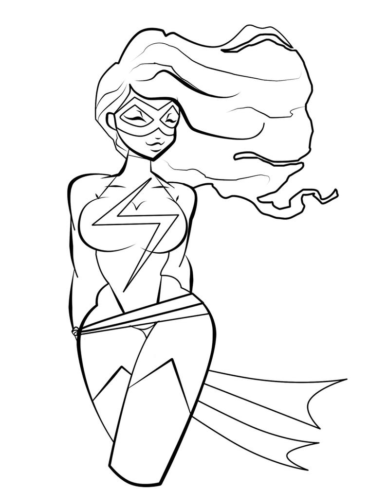 ms marvel coloring page by mecanicalpencils on deviantart