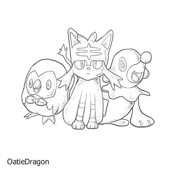 Pokemon coloring pages sun and moon ~ Pokemon Starters Sun And Moon Coloring Coloring Pages