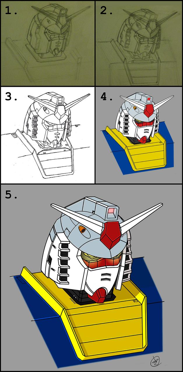 Gundam RX-78-2 head study process by wildspark