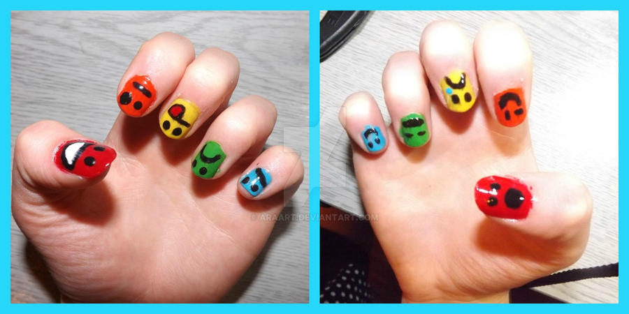 colour emoticon nails by ARAart