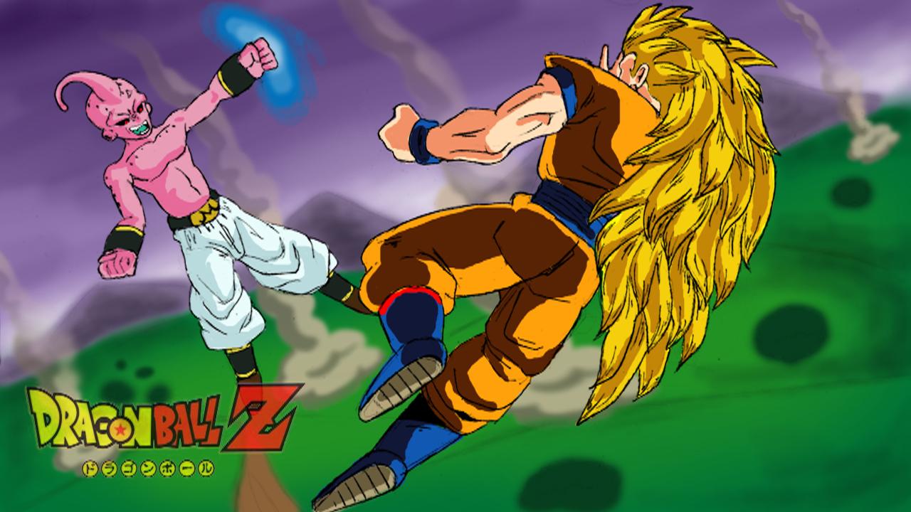 SSJ3 Goku vs Kid Buu by Raineylamont on DeviantArt