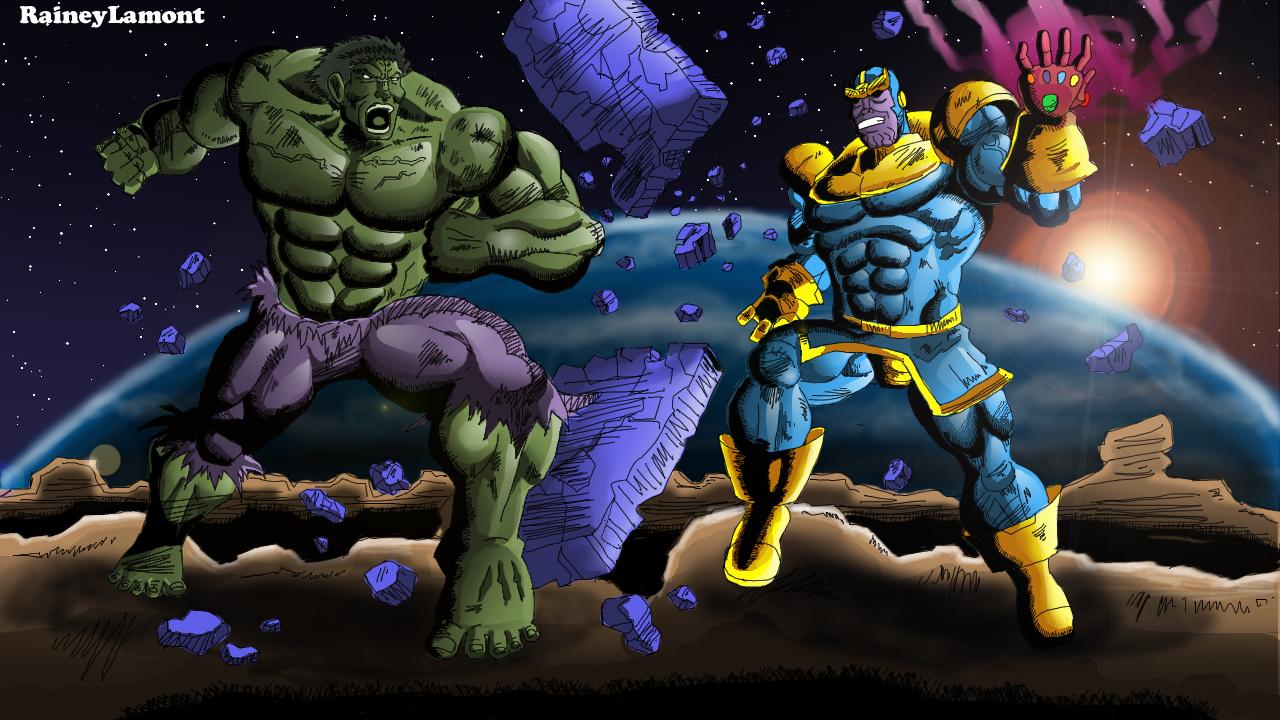 Anime Characters Vs Thanos : Hulk vs thanos percent by raineylamont on deviantart