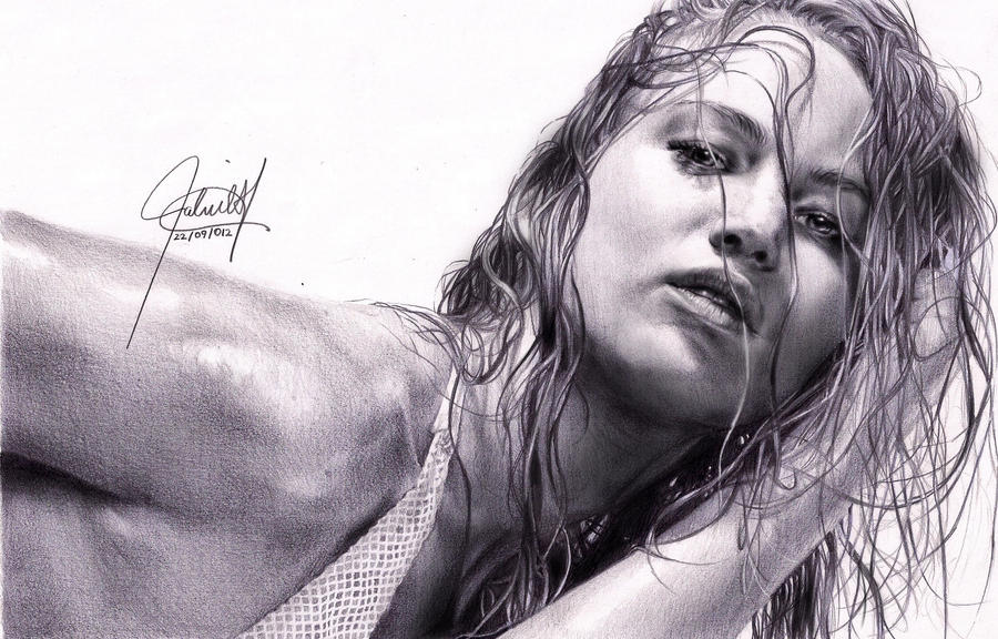 Jennifer Lawrence portrait EDITED by ParaguayDraw