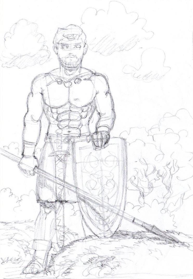 Pencil sketch man with speer by AlMearveck