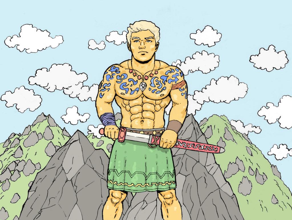 Swordsman unsheathes his sword by AlMearveck