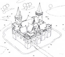 Castle with moat by AlMearveck