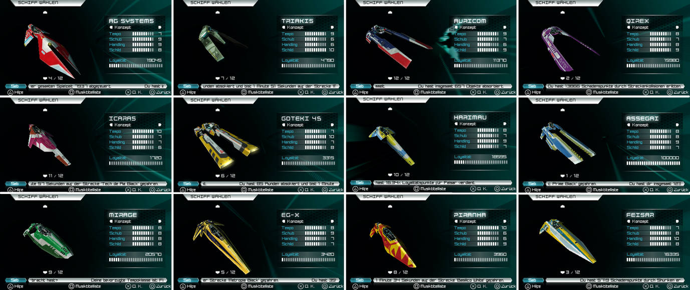 WipEout Pulse all concept ships